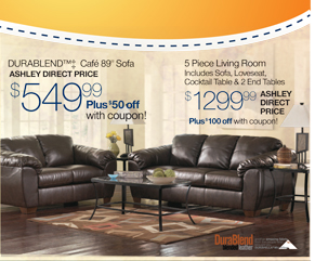 DURABLEND (TM) ++ Cafe 89inch Sofa - AHLEY DIRECT PRICE $549.99 - Plus $50 off with Coupon!-----5 Piece Living Room Includes Sofa, Loveseat, Cocktail Table & 2 End Tables $1299.99 ASHLEY DIRECT PRICE -- Plus $100 off with coupon!