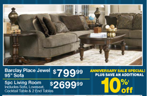 Barclay Place Jewel 95 Sofa - $799.99 - 5pc Living Room - $2699.99 - PLUS SAVE AN ADDITIONAL 10%‡ off