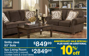 Sirilio Java 93 Sofa - $849.99 - 5pc Living Room - $2849.99 - PLUS SAVE AN ADDITIONAL 10%‡ off