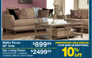 Mallie Pecan 86 Sofa - $899.99 - 5pc Living Room - $2499.99 - PLUS SAVE AN ADDITIONAL 10%‡ off