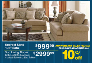Keereel Sand 103 Sofa - $999.99 - 5pc Living Room - $2999.99 - PLUS SAVE AN ADDITIONAL 10%‡ off