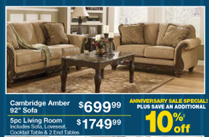 Cambridge Amber 92 Sofa - $699.99 - 5pc Living Room - $1749.99 - PLUS SAVE AN ADDITIONAL 10%‡ off